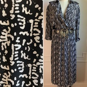 Vintage 80s Tribal Printed and Pleated Dress